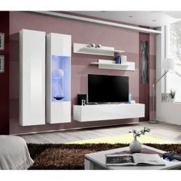 Meuble TV FLY A5 design, coloris blanc brillant + LED. Meuble suspendu moderne et tendance pour votre salon.