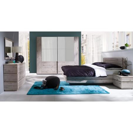 Ensemble RICCARDO pour chambre à coucher. Lit coffre 180, chevets, sommier, armoire 200 cm portes coulissantes