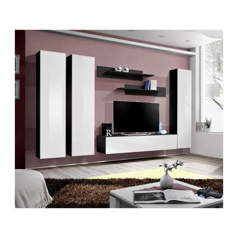 SALON Meuble TV FLY C1 design, coloris noir et blanc brillant. Meub...