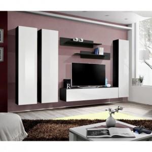 Meuble TV FLY C1 design, coloris noir et blanc brillant. Meuble suspendu moderne et tendance pour votre salon.