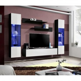 Meuble TV FLY A3 design, coloris noir et blanc brillant + LED. Meuble suspendu moderne et tendance pour votre salon