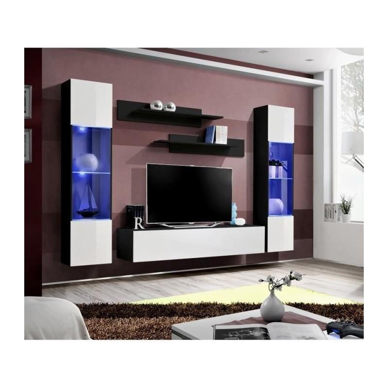 Salon meuble tv fly a3 design coloris noir et blanc brillant led for Meuble salon noir et blanc