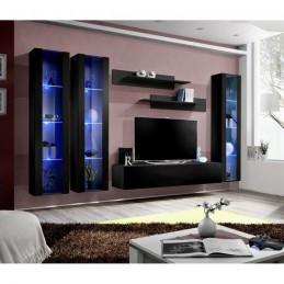 Meuble TV FLY C2 design, coloris noir brillant. Meuble suspendu moderne et tendance pour votre salon.