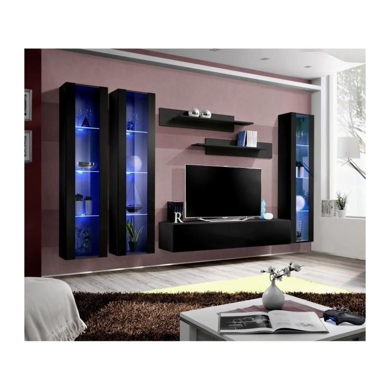 Ensemble complet meuble tv fly c2 design coloris noir brillant me - Meuble salon fly ...
