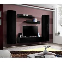 Meuble TV FLY A1 design, coloris noir brillant. Meuble suspendu moderne et tendance pour votre salon.