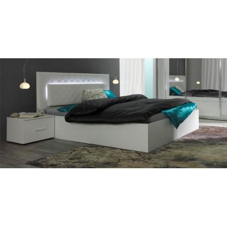 Lit adulte design PANAREA + Chevets + Matelas 160x200 + Sommier. Coloris blanc.