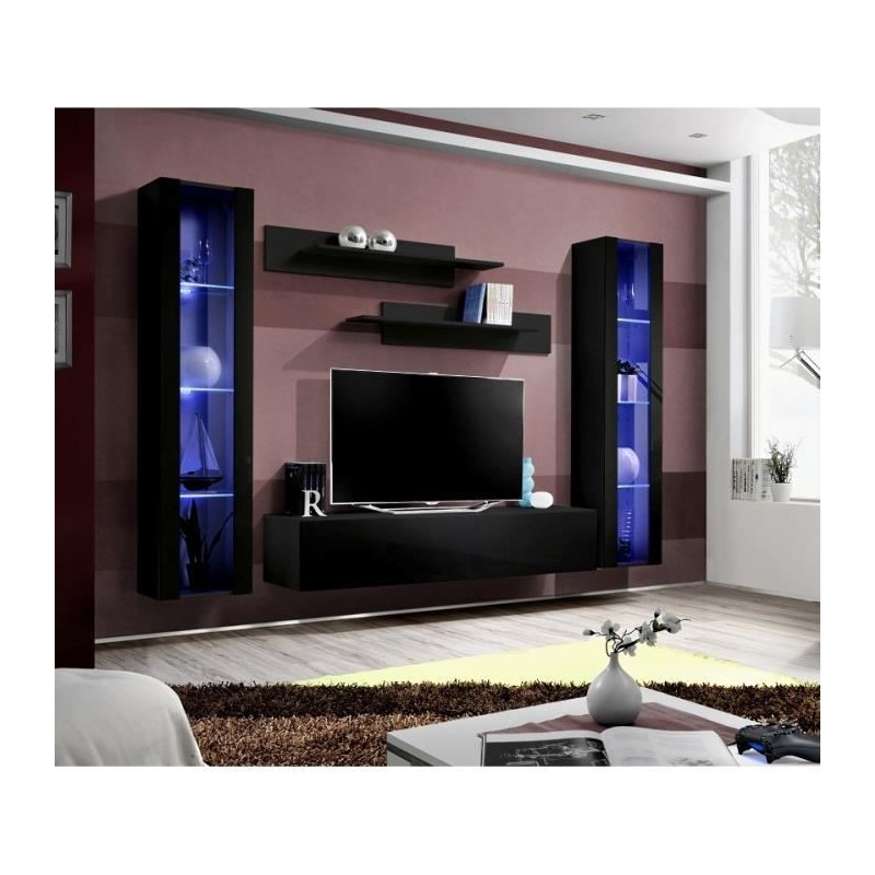 meuble tv fly a2 design coloris noir brillant led meuble suspen. Black Bedroom Furniture Sets. Home Design Ideas