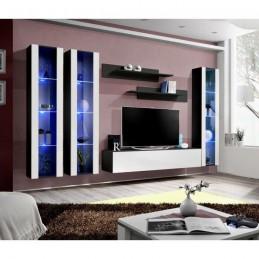 Meuble TV FLY C2 design, coloris noir et blanc brillant. Meuble suspendu moderne et tendance pour votre salon.
