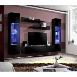 Meuble TV FLY A3 design, coloris noir brillant + LED. Meuble suspendu moderne et tendance pour votre salon.