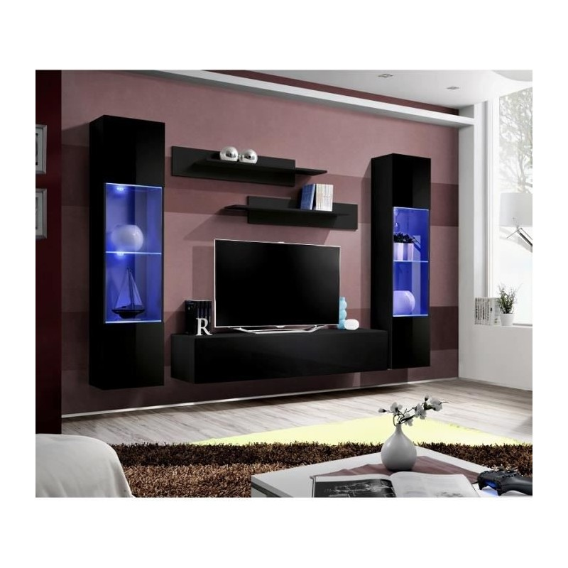 Meubles Et Decorations Meuble Tv Fly A3 Design Coloris Noir Bril