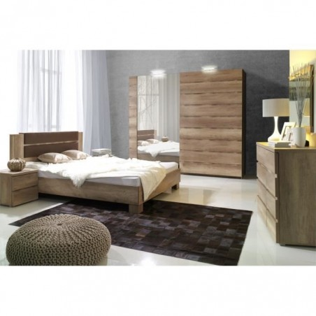 Ensemble design pour chambre à coucher ROMI. Lit avec sommier 180x200 cm, deux tables de chevet et commode.