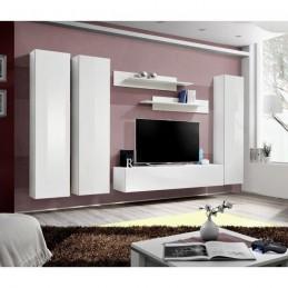 Meuble TV FLY C1 design, coloris blanc brillant. Meuble suspendu moderne et tendance pour votre salon.