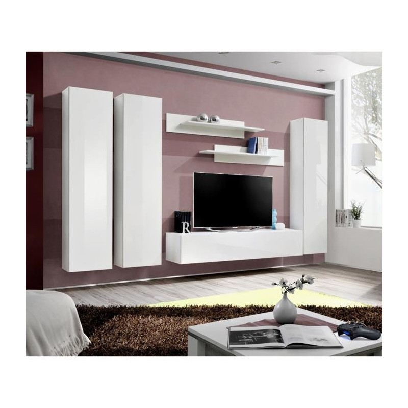 meuble tv fly c1 design coloris blanc brillant meuble suspendu mo. Black Bedroom Furniture Sets. Home Design Ideas