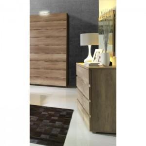 Ensemble design pour chambre à coucher ROMI. Lit avec sommier 160x200 cm, deux tables de chevet et commode.