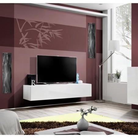 Meuble TV FLY design, coloris blanc brillant. Meuble suspendu moderne et tendance pour votre salon.