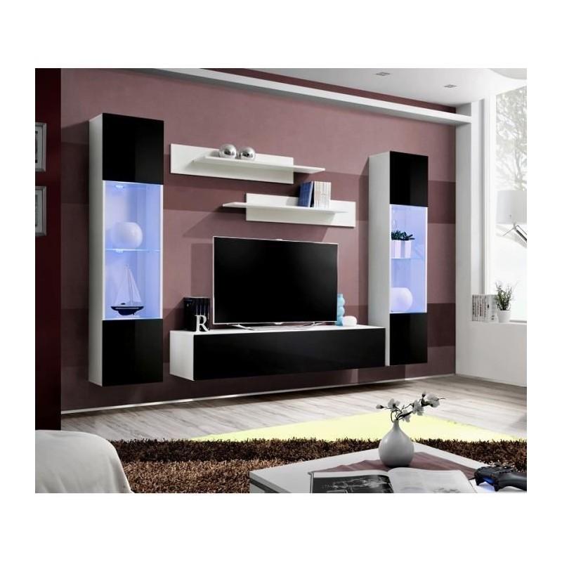 Meuble TV FLY A3 design, coloris blanc et noir brillant + LED. Meuble suspendu moderne et tendance pour votre salon.