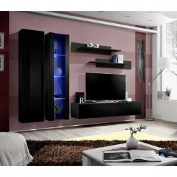 Meuble TV FLY A4 design, coloris noir brillant + LED. Meuble suspendu moderne et tendance pour votre salon