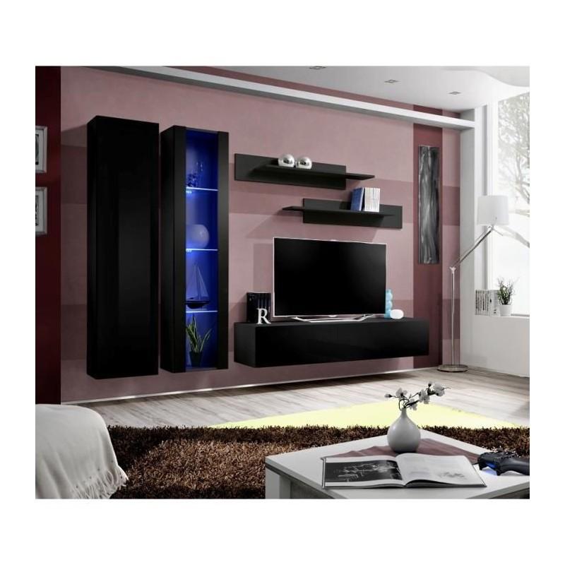 Ensemble complet meuble tv fly a4 design coloris noir brillant l - Meuble salon fly ...