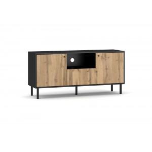 Meuble TV industriel SPEBO, 140 cm, 2 portes et 1 tiroir, coloris noir mat et chêne wotan.