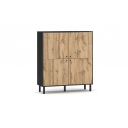 Bibliothèque industrielle SPEBO, 140 cm, 4 portes, coloris noir mat et chêne wotan