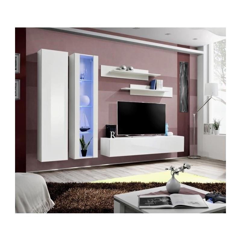 Meuble tv fly a4 design coloris blanc brillant led meuble suspe for Meuble pour salon moderne