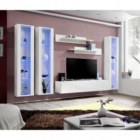 Meuble TV FLY C2 design, coloris blanc brillant. Meuble suspendu moderne et tendance pour votre salon.
