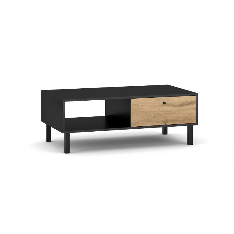 Table basse industrielle SPEBO 1 tiroir et 1 niche, coloris noir mat et chêne wotan