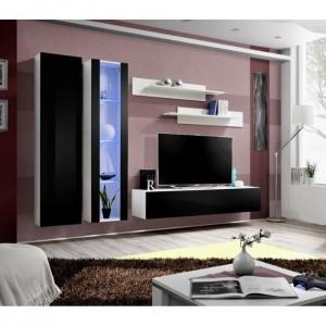 Meuble TV FLY A4 design, coloris blanc et noir brillant + LED. Meuble suspendu moderne et tendance pour votre salon