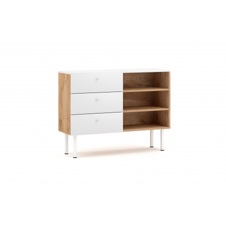 Commode moderne RULIA, 100cm, 3 tiroirs et 3 niches, coloris chêne et blanc mat