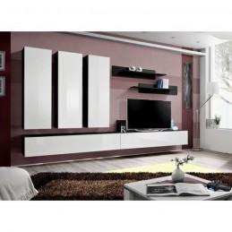 Meuble TV FLY E1 design, coloris noir et blanc brillant. Meuble suspendu moderne et tendance pour votre salon.