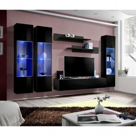 Meuble TV FLY C3 design, coloris noir brillant. Meuble suspendu moderne et tendance pour votre salon.