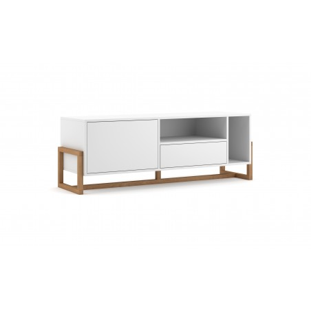 Meuble TV design GEILO, 140cm, 3 portes, coloris blanc mat et chêne.