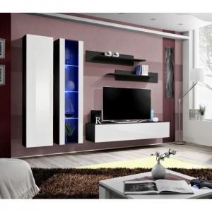 Meuble TV FLY A4 design, coloris noir et blanc brillant + LED. Meuble suspendu moderne et tendance pour votre salon.