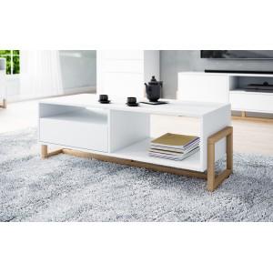 Table basse design GEILO 1 tiroir et 2 niches, coloris chêne et blanc mat