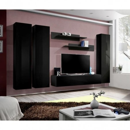 Meuble TV FLY design, coloris noir brillant. Meuble suspendu.