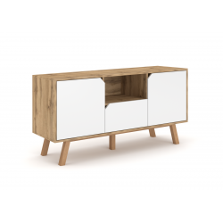 Meuble TV design AOMORI, 140cm, 2 portes, 1 tiroir et 1 niche, coloris hêtre et blanc.