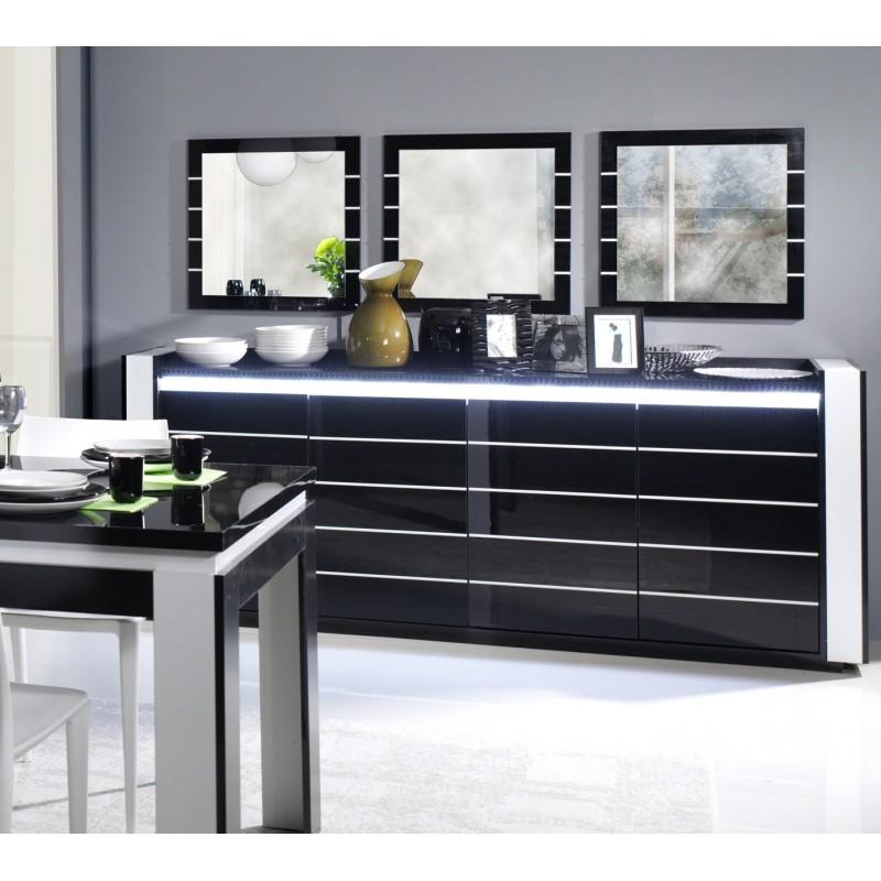 Buffet bahut enfilade lina avec led 3 x miroirs meuble noir et for Meuble salon noir et blanc