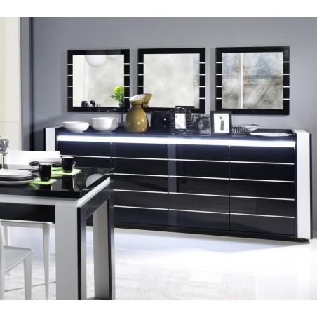 Buffet, bahut, enfilade LINA avec LED + 3 x miroirs. Meuble noir et blanc, idéal pour votre salon ou salle à manger.