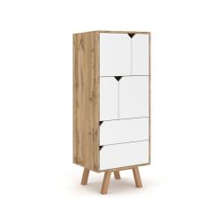 Vaisselier design AOMORI 2 tiroirs, 4 portes, coloris hêtre et blanc mat