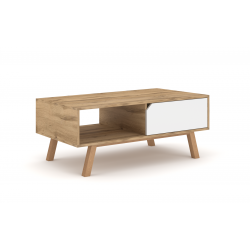 Table basse design AOMORI 1 tiroir et 1 niche, coloris chêne et blanc mat