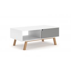 Table basse design AOMORI 1 tiroir et 1 niche, coloris blanc et gris mat