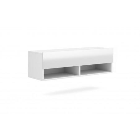 Meuble TV suspendu design CLUJ, 100 cm, 1 porte et 2 niches, coloris blanc et blanc brillant.