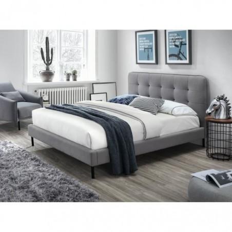 Lit adulte deux places design ROBERT + sommier 140x200 cm. Type scandinave, idéal pour votre chambre à couche