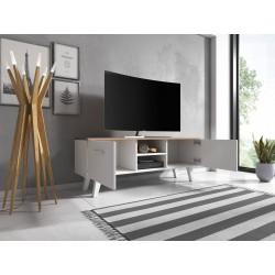 Meuble TV design EST, 140cm, 2 portes et 2 niches, coloris blanc et chêne.