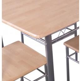 Table de cuisine et salle à manger + 4 chaises BREMEN coloris bois naturel et gris.