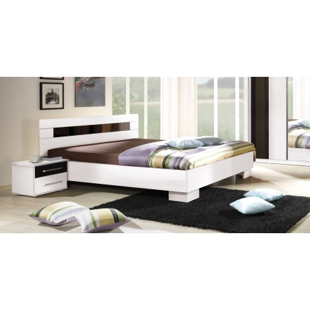 Lit DUBLIN blanc 140 x 190 cm, idéal pour chambre à coucher. Meuble design