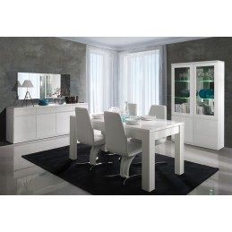 Buffet, bahut, enfilade 4 portes et 4 tiroirs + miroirs FABIO. Blan...