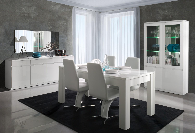 Salle manger buffet bahut enfilade 4 portes et 4 tiroirs miro for Meuble salle a manger blanc
