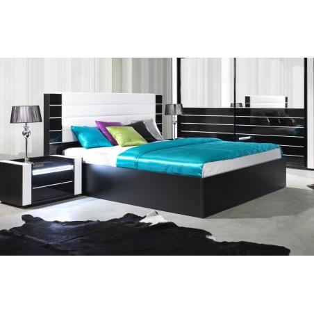 Lit double 160 cm avec option coffre LINA. Coloris noir et blanc brillant avec une finition en simili cuir. Sommier inclus