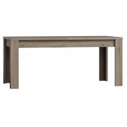 Table extensible pour salle à manger FARRA. Dimensions 180-220 cm avec rallonge. Coloris Oak canyon, chêne clair
